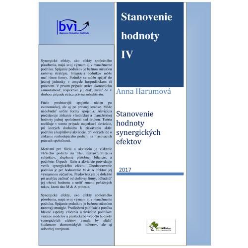 Stanovenie hodnoty IV - Stanovenie hodnoty synergických efektov