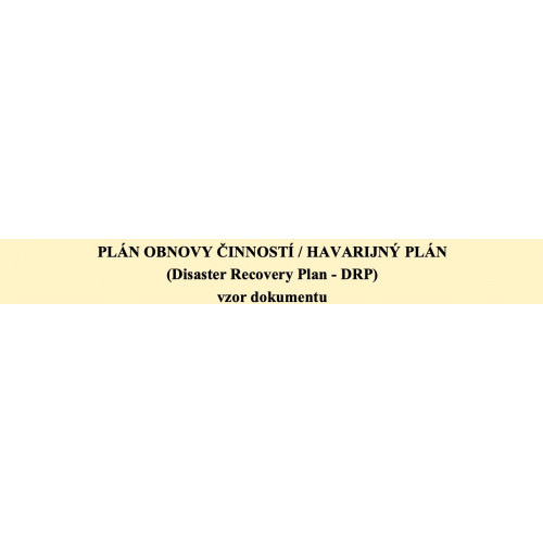 Plán obnovy činností (DRP)